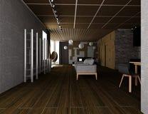 ejemplo 3D del interior plano acogedor Fotos de archivo