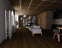 ejemplo 3D del interior plano acogedor Foto de archivo