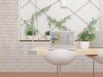 ejemplo 3D del ordenador en la tabla, las plantas verdes y silla Fotos de archivo libres de regalías