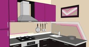 ejemplo 3D del puprle moderno y de la esquina marrón de la cocina con la capilla, el cooktop, el fregadero y los dispositivos del Imagenes de archivo