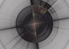 ejemplo 3D del radar en forma del fractal en lona gris imagen de archivo