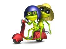 ejemplo 3D del ranas en una vespa de motor roja Foto de archivo