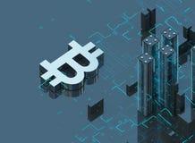 ejemplo 3D del símbolo del bitcoin que sube de ciudad moderna en la costa Imagen de archivo libre de regalías
