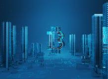 ejemplo 3D del símbolo del bitcoin que sube de ciudad moderna en la costa Fotos de archivo libres de regalías