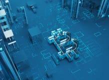 ejemplo 3D del símbolo del bitcoin que sube de ciudad moderna en la costa Fotos de archivo