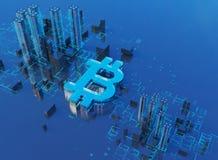 ejemplo 3D del símbolo del bitcoin que sube de ciudad moderna en la costa Imágenes de archivo libres de regalías