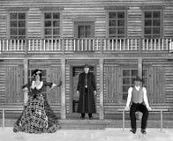 ejemplo 3D del salón del oeste salvaje con los vaqueros y la señora en blanco y negro libre illustration