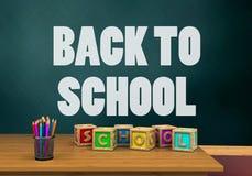 ejemplo 3d del schoolboard con de nuevo al texto de escuela y los cubos de las letras Imagen de archivo