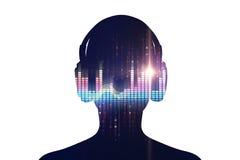 ejemplo 3d del ser humano con el auricular en abstra audio de la forma de onda Imagen de archivo libre de regalías