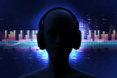 ejemplo 3d del ser humano con el auricular en abstra audio de la forma de onda Imagen de archivo
