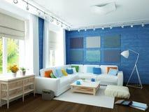 ejemplo 3D del sitio azul moderno Fotos de archivo
