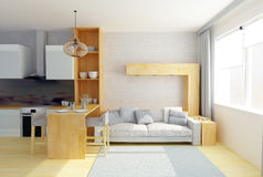 ejemplo 3D del sitio moderno del estudio en colores grises Foto de archivo