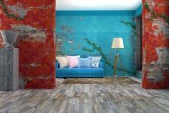 ejemplo 3D del sofá azul brillante cerca de la pared azul del vintage Foto de archivo