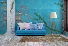 ejemplo 3D del sofá azul brillante cerca de la pared azul del vintage Imagen de archivo