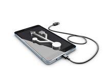 ejemplo 3d del teléfono móvil con la conexión USB Imagen de archivo