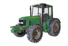 ejemplo 3D del tractor aherrumbrado viejo en el fondo blanco Imagen de archivo