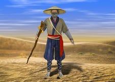 ejemplo 3D del viejo hombre asiático tradicional sabio que camina a través de desierto libre illustration