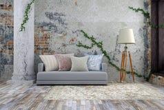 ejemplo 3D del viejo sitio vacío con el sofá en colores claros Foto de archivo