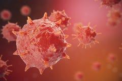 ejemplo 3D del virus de gripe H1N1 La gripe de cerdos, infecta el organismo, epidemia viral de la enfermedad Imagenes de archivo