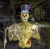 ejemplo 3D del zombi de Halloween con el esqueleto Foto de archivo libre de regalías