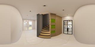 ejemplo 3d diseño interior del panorama inconsútil de 360 grados de salón Fotos de archivo libres de regalías