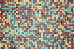 ejemplo 3d: el fondo abstracto del mosaico, los bloques coloreados broncea, se pone verde, beige, naranja, color amarillo Gama de ilustración del vector