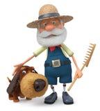 ejemplo 3D el granjero con un perro y un rastrillo stock de ilustración