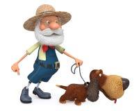 ejemplo 3D el granjero con un perro y un rastrillo libre illustration