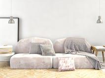 ejemplo 3d, interior con el sofá mofa de la pared para arriba Imagen de archivo libre de regalías