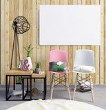 ejemplo 3d, interior moderno con el marco, cartel y silla P Foto de archivo libre de regalías