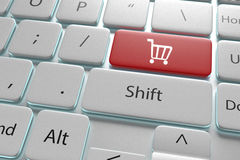 ejemplo 3d que compra un botón en el teclado blanco Foto de archivo libre de regalías