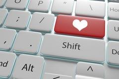 ejemplo 3d un corazón del botón en el teclado blanco Fotos de archivo