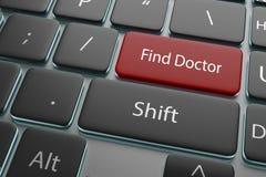 ejemplo 3d un doctor del hallazgo del botón en el teclado Fotografía de archivo libre de regalías