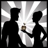Ejemplo de Adán y de Eva con la fruta prohibida fotos de archivo