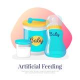 Ejemplo de alimentación artificial de las mercancías del vector Accesorios recién nacidos en estilo de la historieta libre illustration