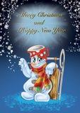 Ejemplo de alta calidad del hombre de la nieve para la Navidad y las nuevas postales del YER, cubierta, fondo, papel pintado ilustración del vector