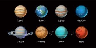 Ejemplo de alta calidad del vector de la estrella de la órbita del globo de la geología de la astronomía de la galaxia del planet Fotografía de archivo libre de regalías