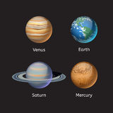 Ejemplo de alta calidad del vector de la estrella de la órbita del globo de la geología de la astronomía de la galaxia del planet Imagen de archivo