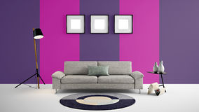 Ejemplo de alta resolución 3d con el fondo y los muebles rosados y púrpuras de la pared del color libre illustration