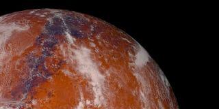 Ejemplo de alta resolución extremadamente detallado y realista 3d de un Marte terraforming terraformed como el planeta rojo Tirad stock de ilustración