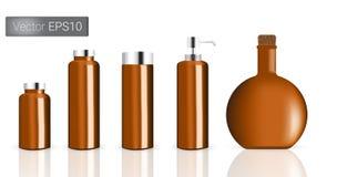 Ejemplo de Amber Glass Bottles Set Background Imagen de archivo
