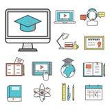 Ejemplo de aprendizaje distante del vector del conocimiento del diseño de los iconos de la educación del personal de la librería  Fotos de archivo