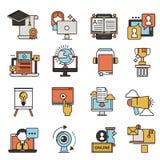 Ejemplo de aprendizaje distante del vector del conocimiento del diseño de los iconos de la educación del personal de la librería  Foto de archivo
