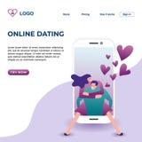 Ejemplo de aterrizaje en línea del vector del diseño de la página que fecha con estilo moderno de la tecnología de los pares romá libre illustration