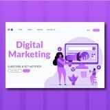 Ejemplo de aterrizaje de la página del estilo del vector de la comercialización de Digitaces del márketing plano de Digitaces ilustración del vector