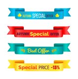 Ejemplo de Autumn Special Offer Ribbons Vector ilustración del vector