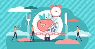 Ejemplo de ayuno del vector Concepto minúsculo plano de la persona del tiempo de la dieta del metabolismo ilustración del vector