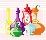 Ejemplo de botellas Stock de ilustración