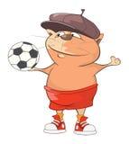 Ejemplo de Cat Football Player linda Personaje de dibujos animados Fotografía de archivo