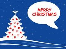 Ejemplo de Christmassy con símbolos del web y felices chistmas Imagenes de archivo